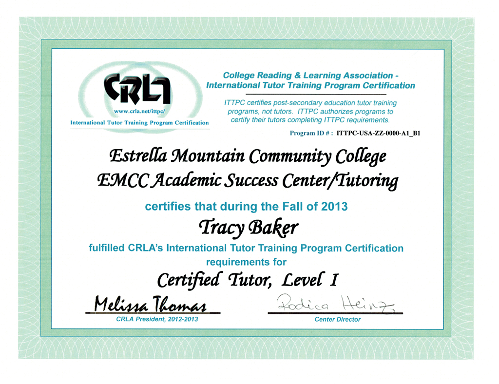 Tracy l baker electronic portfolio cisco certified entry network technician college reading learning association certified tutor level i 1betcityfo Gallery